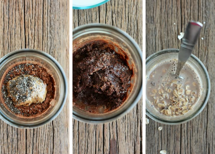 three process photos of making peanut butter overnight oats