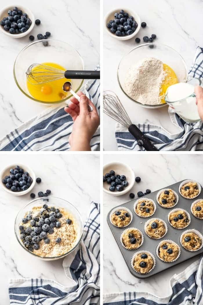 4 photos showing how to make healthy blueberry muffins