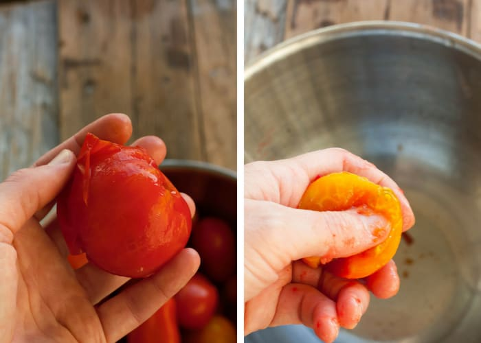 peeling and deseeding a tomato for crockpot spaghetti sauce