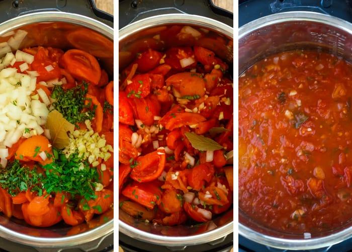 crockpot spaghetti sauce in 3 steps