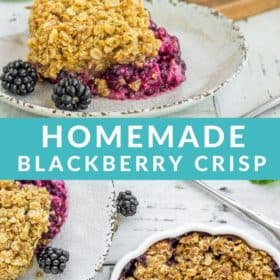 a plate and dish of blackberry crisp with an oatmeal topping