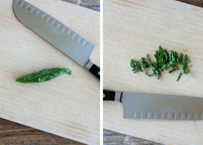 demonstration on how to slice basil