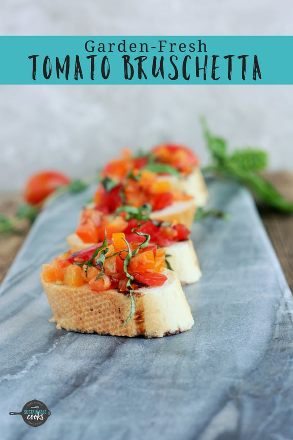 An easy snack, appetizer, or dinner, this Garden Fresh Tomato Bruschetta recipe is a healthy and delicious treat. Packed with garlic and basil, and finished off with balsamic, bruschetta is the ultimate simple vegan dish. #sustainablecooks #bruschetta #appetizer #vegan #whole30 #makeahead #gardenfresh