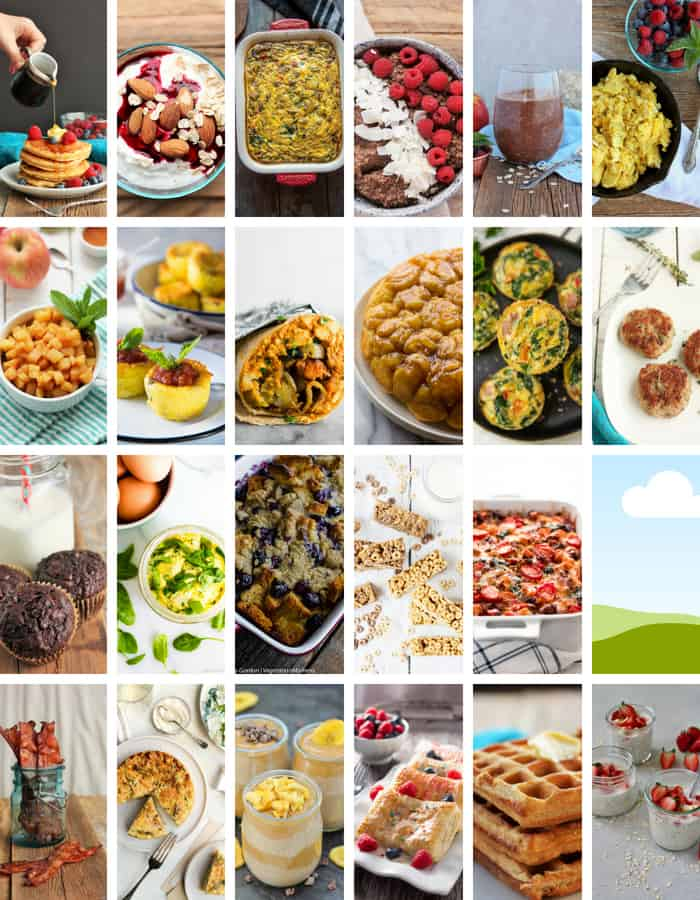 24 photos of breakfast in a collage for a make ahead breakfast round up