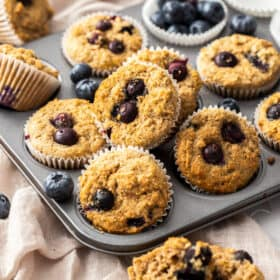 a muffin tray full of blueberry buttermilk muffins