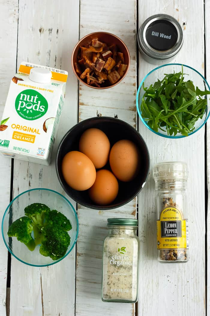 eggs, greens, bacon and other ingredients for sous vide egg bites recipe