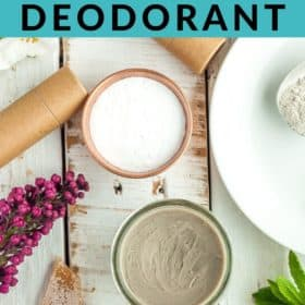 jars of deodorant with flowers, beeswax, and cardboard tubes