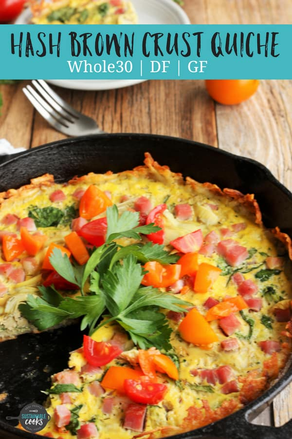 Mind-blowingly easy and tasty, Healthy Quiche With Hash Brown Crust is delicious for breakfast, lunch, or even dinner. Packed with veggies and dairy-free, this gluten-free dish is also Whole30 compliant. #sustainablecooks #quiche #whole30 #paleo #hashbrown