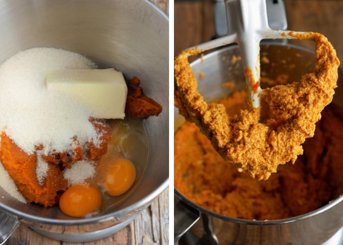 ingredients for soft pumpkin cookies in a stand mixer
