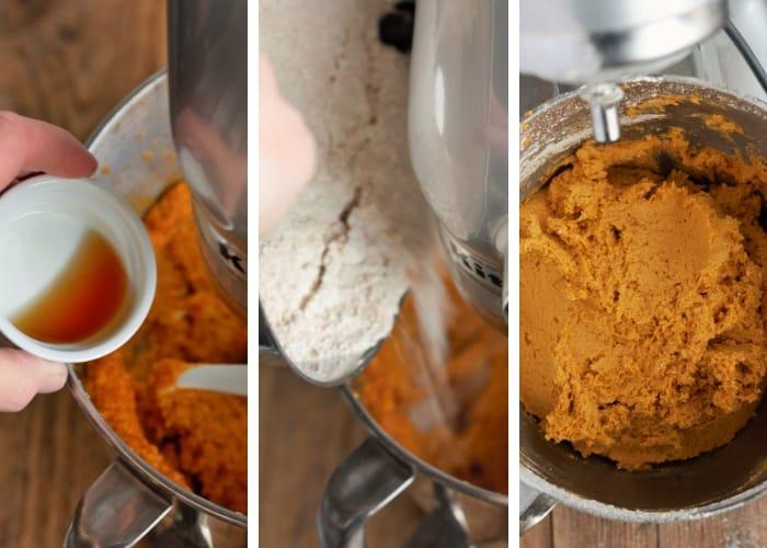 Three steps of the mixing process fora pumpkin cookie recipe