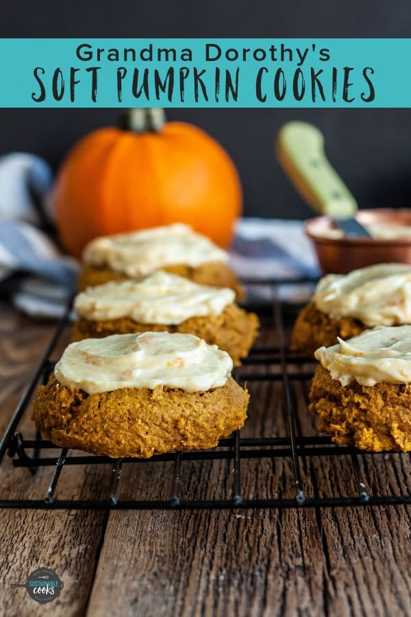 Nothing welcomes Fall like baking up a batch of Grandma Dorothy's Soft Pumpkin Cookies for dessert! These amazing cookies are so easy to make and are topped with an incredible orange cream cheese frosting. #sustainablecooks #pumpkincookies #wholewheatbaking #pumpkindesserts