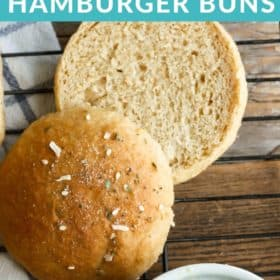 whole wheat hamburger buns on a baking rack