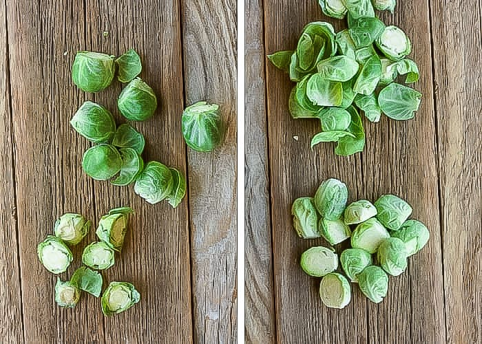 two side by side photos of brussels sprouts being trimmed
