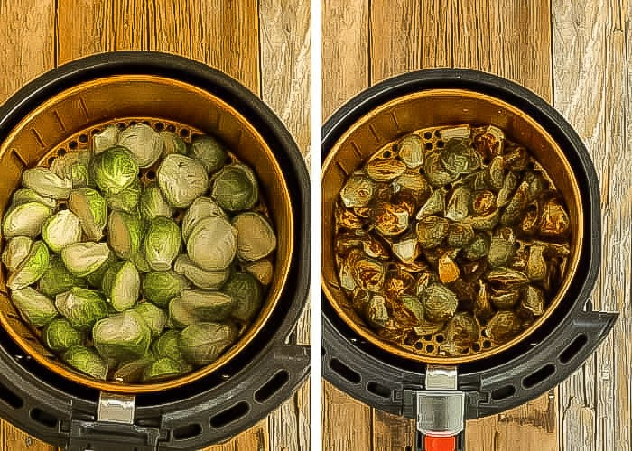 two photos of brussels sprouts in an air fryer