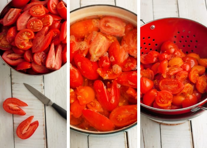 three steps showing the process for canning tomatoes