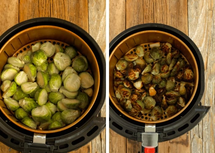 before and after photos of roasted brussels sprouts with garlic in an air fryer basket