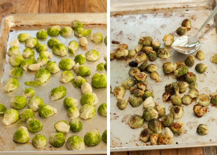 before and after cooking photos of roasted brussels sprouts with garlic on a baking sheet