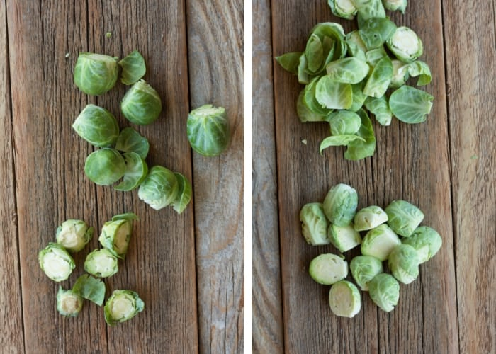 Two photos showing how to trim brussels sprouts