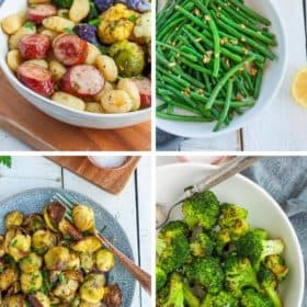 4 photos of roasted frozen vegetables