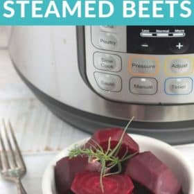 Steamed beets in front of an Instant Pot