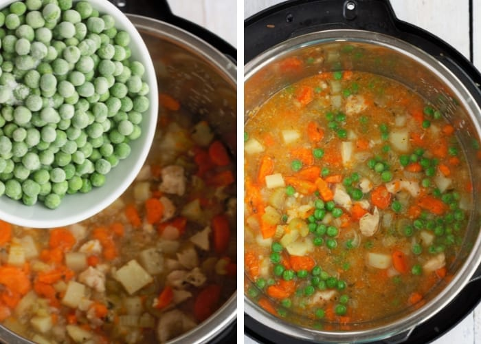 a bowl of peas being added to chicken pot pie soup