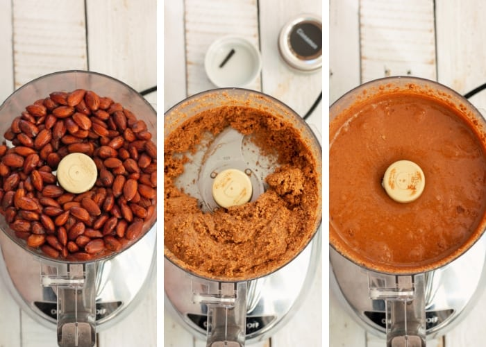 3 different photos showing steps for making cinnamon almond butter