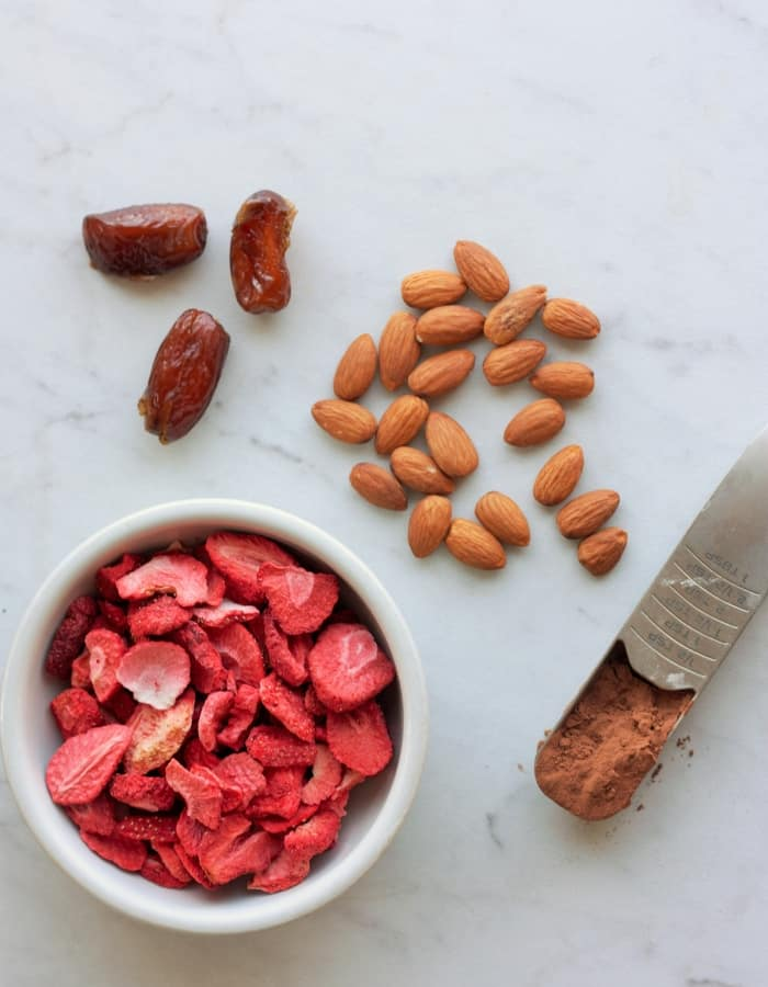 ingredients for making strawberry fudge energy date balls