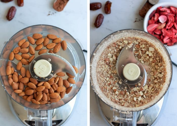 A food processor chopping almonds for strawberry fudge energy date balls