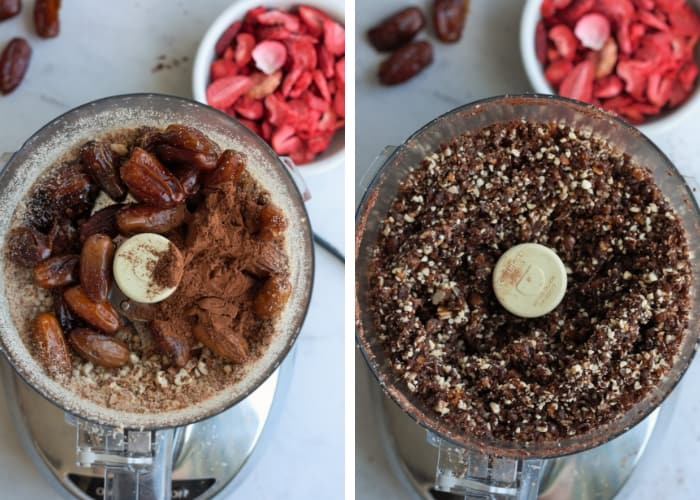 Dates and cocoa powder in a food processor making strawberry fudge energy date balls