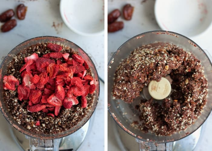 freeze dried strawberries and dates in a food processor for strawberry fudge energy date balls