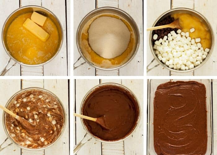 6 photos showing the process of making old-fashioned fudge