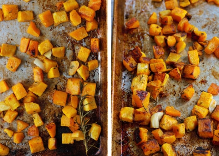 two trays of paleo roasted butternut squash