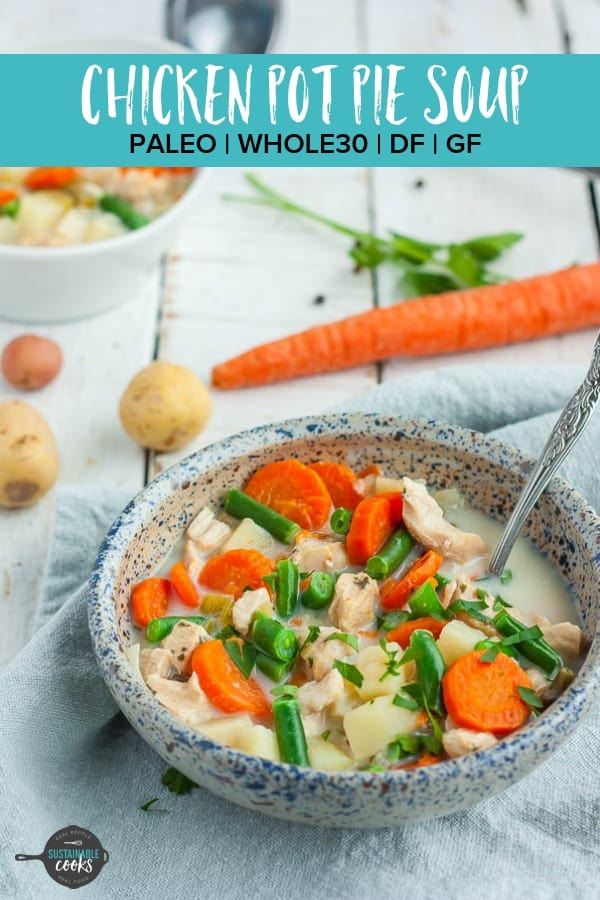 A healthy and comforting Paleo Chicken Pot Pie Soup that is easy to make in the crockpot or Instant Pot. This delicious soup is gluten-free, dairy-free, and easily Whole30 or paleo adaptable.