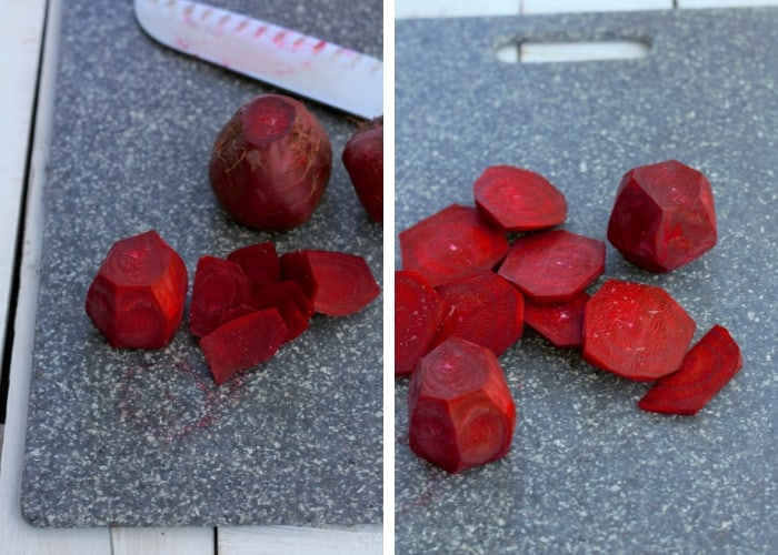 Photos showing how to cut beets for pressure cooking