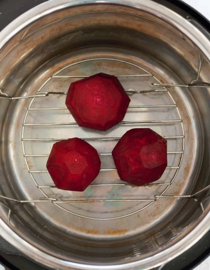 beets inside an instant pot for making pressure cooker beets