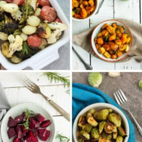 four different dishes from roasting frozen vegetables