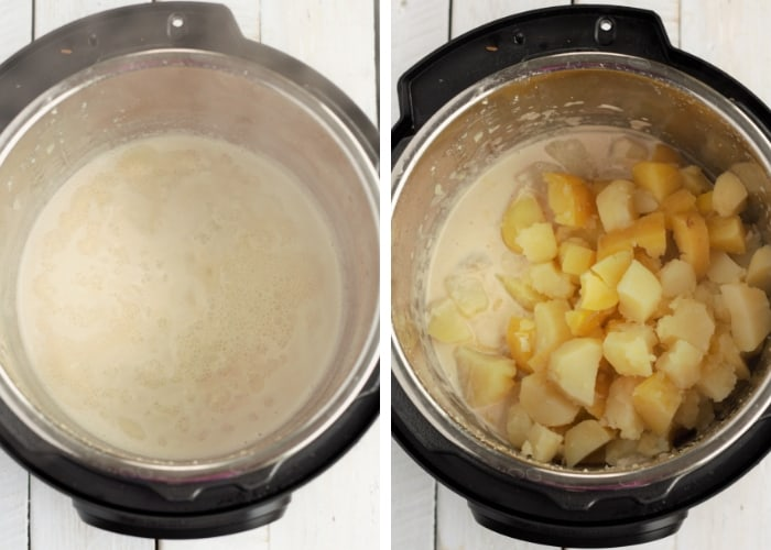 two photos showing the cooking process for whole30 mashed potatoes in an instant pot