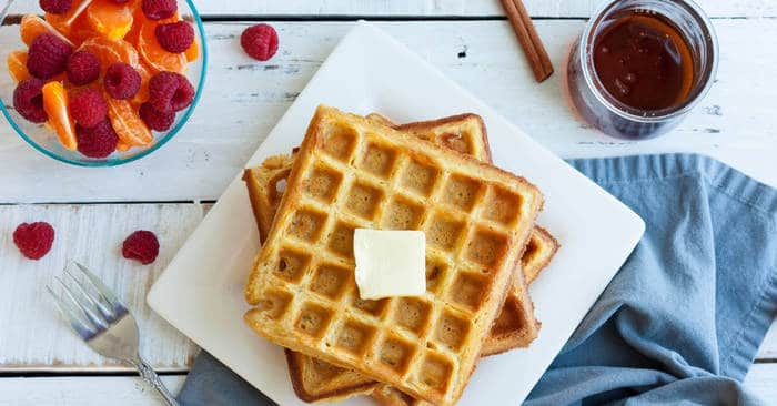 Eggnog Waffles {Make Ahead Christmas Breakfast}