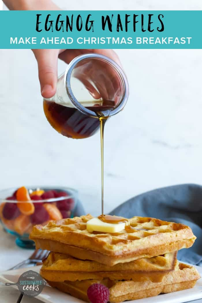 With crispy edges and soft fluffy insides, Eggnog Waffles are a perfect make-ahead Christmas breakfast. Enjoy this delicious holiday breakfast while spending more time with your family. #eggnogrecipes #christmasmorning #waffles #holidaybreakfast