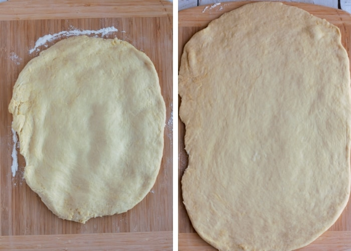 two photos of flattened dough for making overnight cinnamon rolls