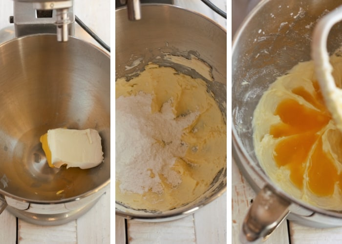 three photos showing how to make orange cream cheese frosting for overnight cinnamon rolls