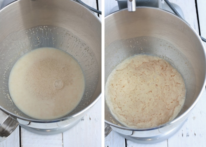 yeast being proofed for overnight cinnamon rolls