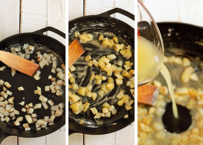 onions being cooked in a cast iron skillet for simple shepherd's pie