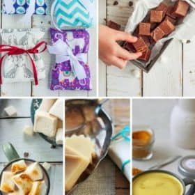 5 photos of homemade gifts- rice bags, fudge, marshmallows, lotion bars, and tumeric latte mix