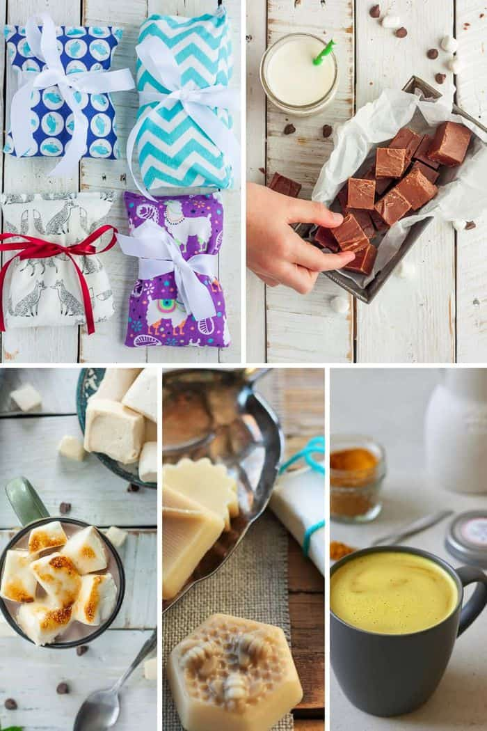 5 photos of handmade gifts - fudge, rice bags, marshmallows, lotion bars, and tumeric latte