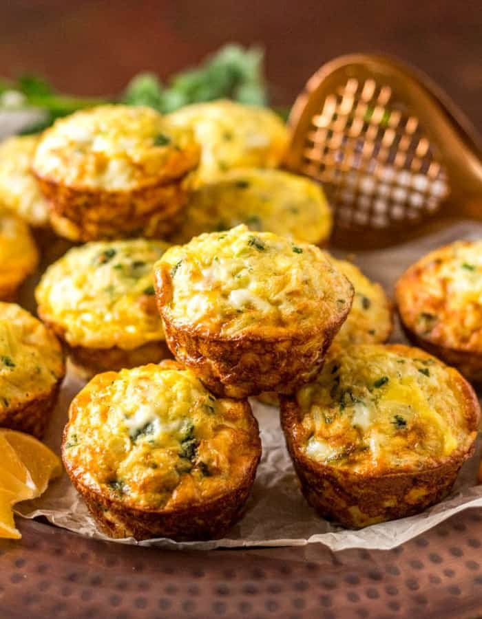mini frittatas on a plate for make ahead christmas morning breakfasts