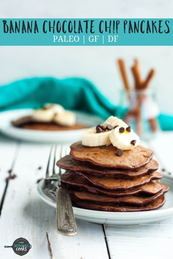 Whip up a batch of delicious Gluten-Free Banana Chocolate Chip Pancakes for an easy and healthy breakfast. Gluten-free, dairy-free, paleo, and freezer-friendly, these pancakes are so tasty! #bananapancakes #glutenfreepancakes #chocolatechippancakes