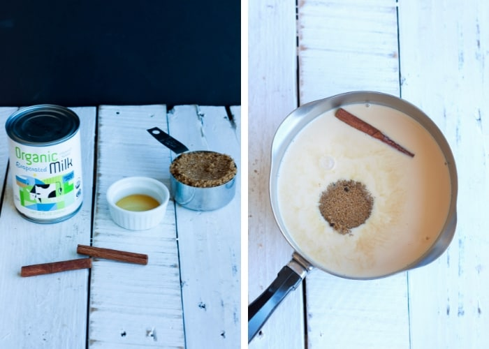 Two photos showing how to make homemade cinnamon syrup