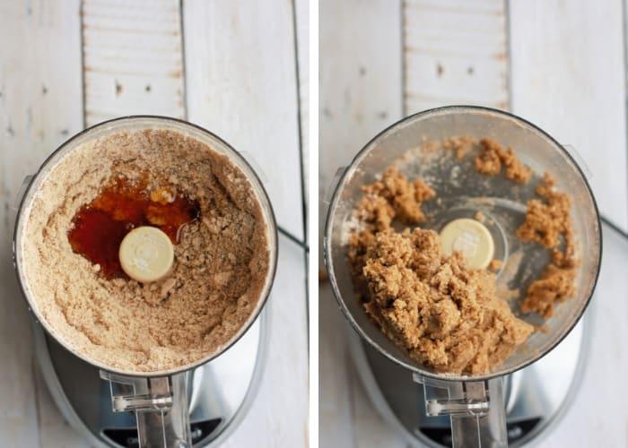Two photos making dough for peppermint bark graham cracker recipe