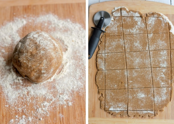 Two photos showing how to roll out dough for peppermint bark graham cracker recipe